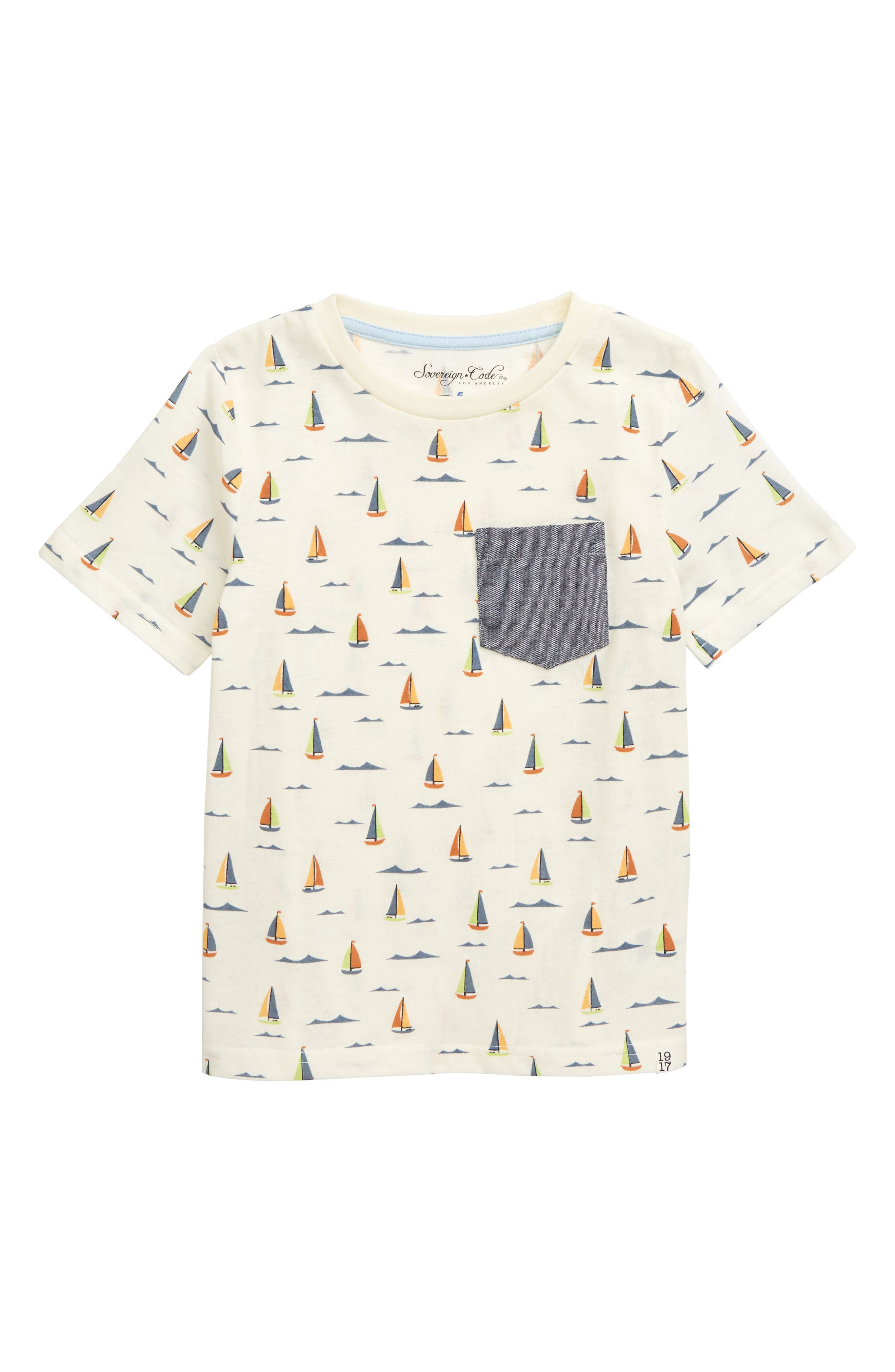 Boys Sovereign Code Sailboat Waves TShirt Size 6  Ivory