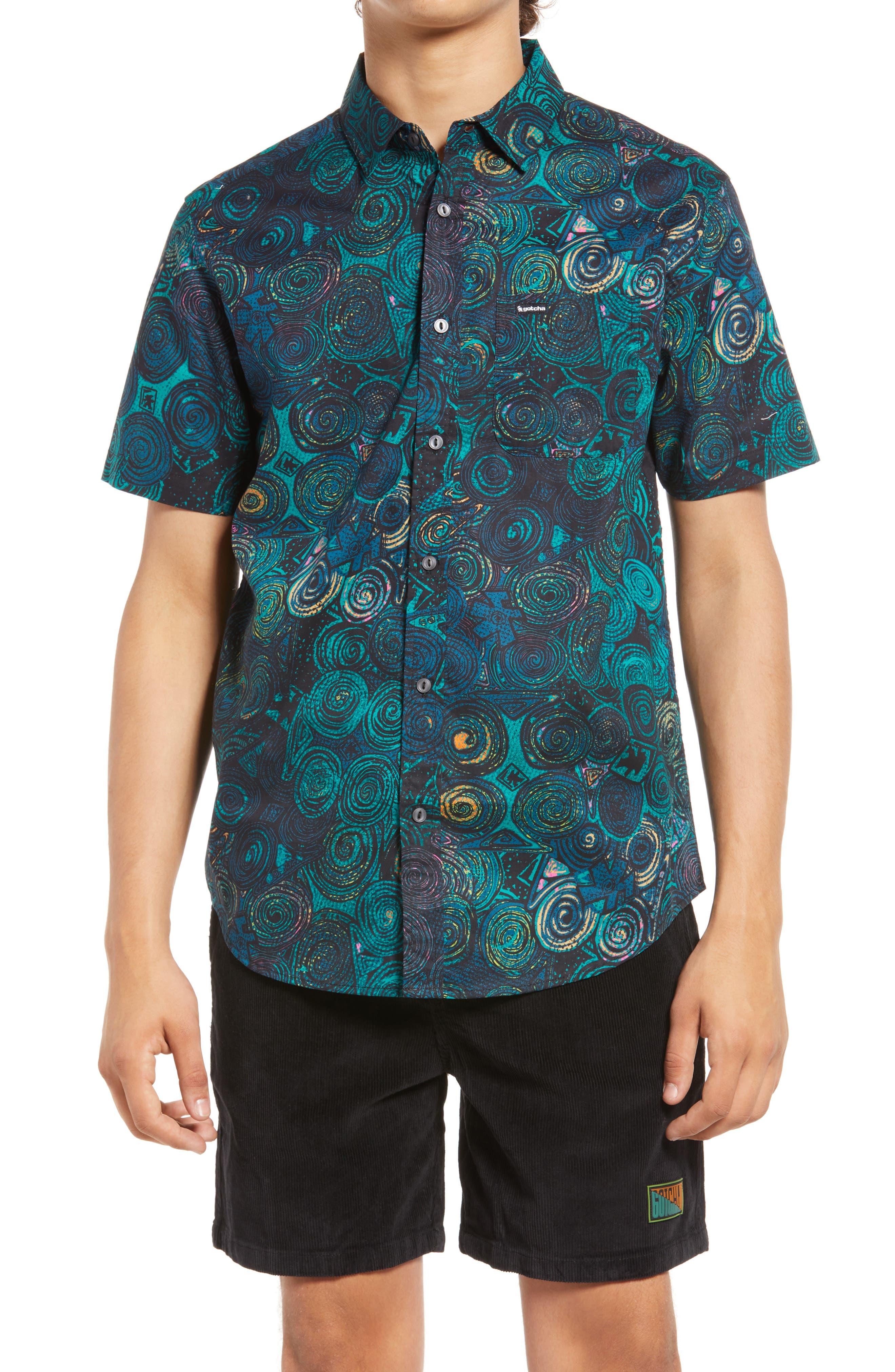 Smithson Swirl Print Short Sleeve Button-Up Shirt