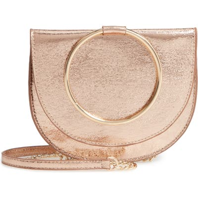 Trouve Reese Crackle Ring Crossbody Bag - Pink