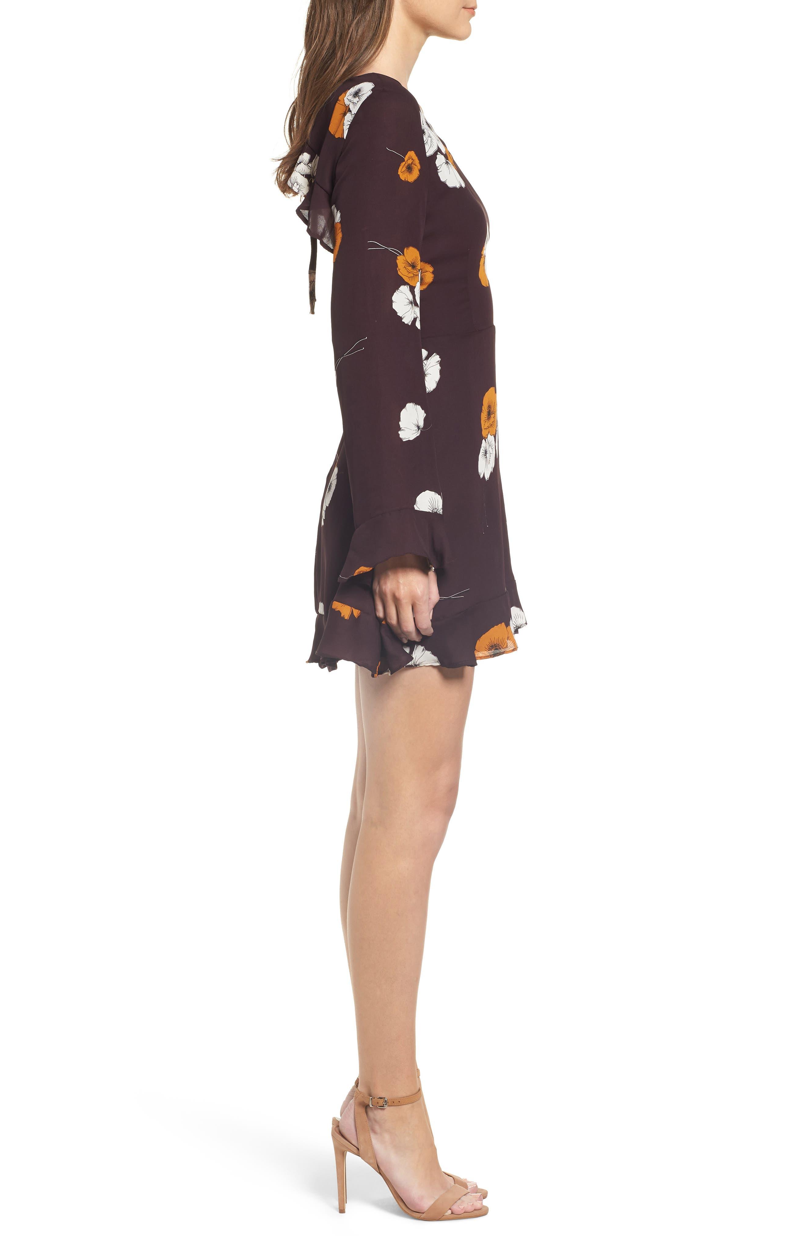 ,                             Leena Vintage Floral Dress,                             Alternate thumbnail 4, color,                             AUBERGINE