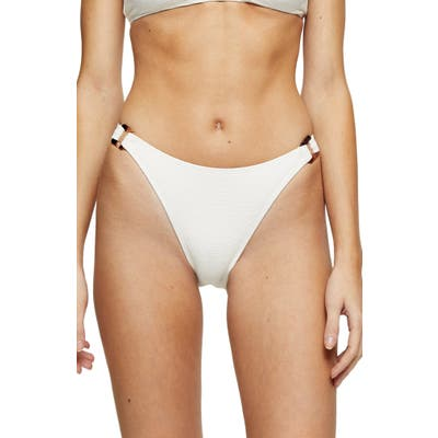 Topshop Crinkle Ring Bikini Bottoms, US (fits like 0-2) - Ivory