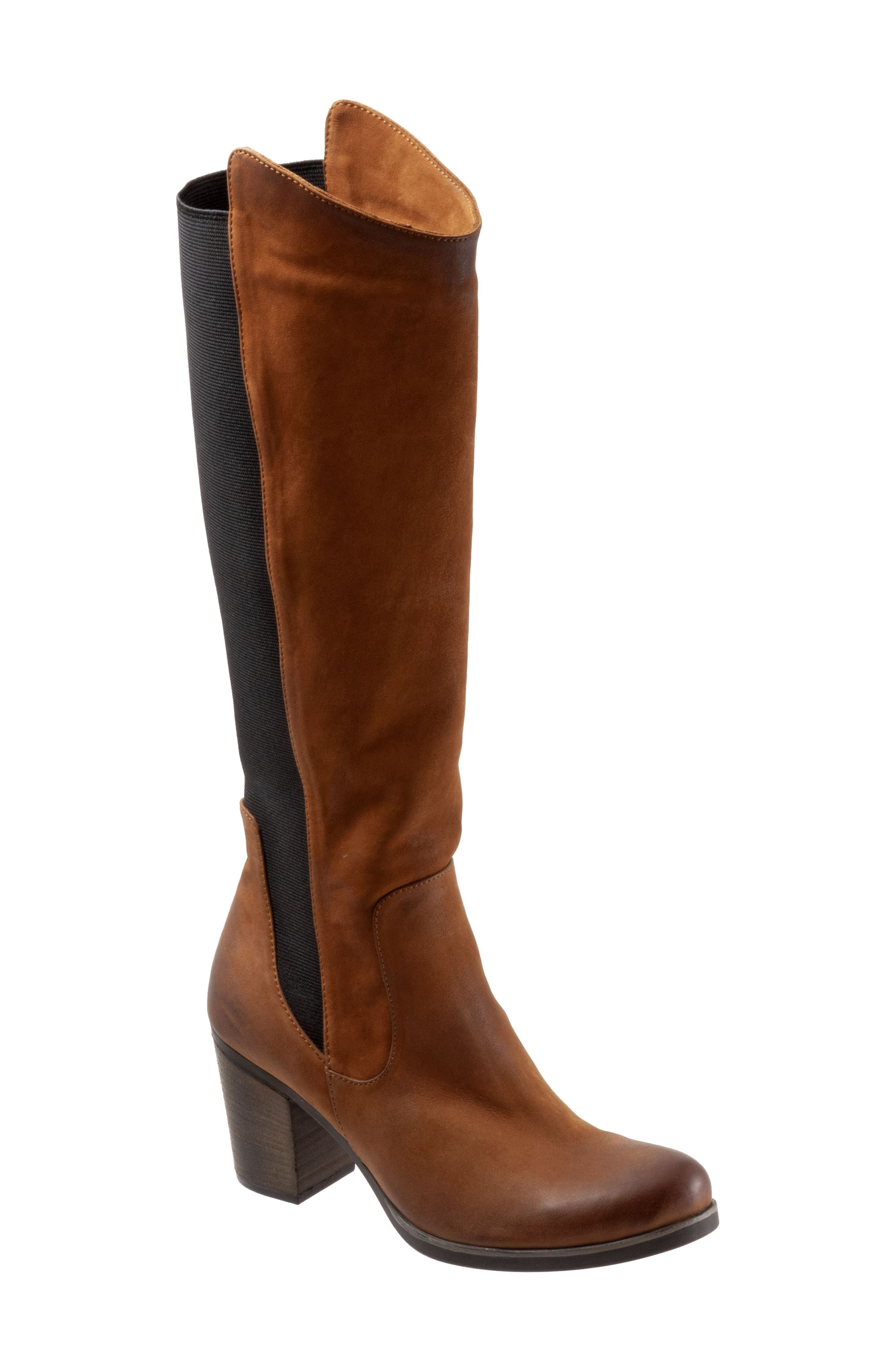 A stretchy elastic panel ensures a flexible custom fit on a chic knee-high boot elevated by a chunky stacked heel and fit with a cushy footbed. Style Name: Bueno Walt Knee High Boot (Women). Style Number: 5878569. Available in stores.