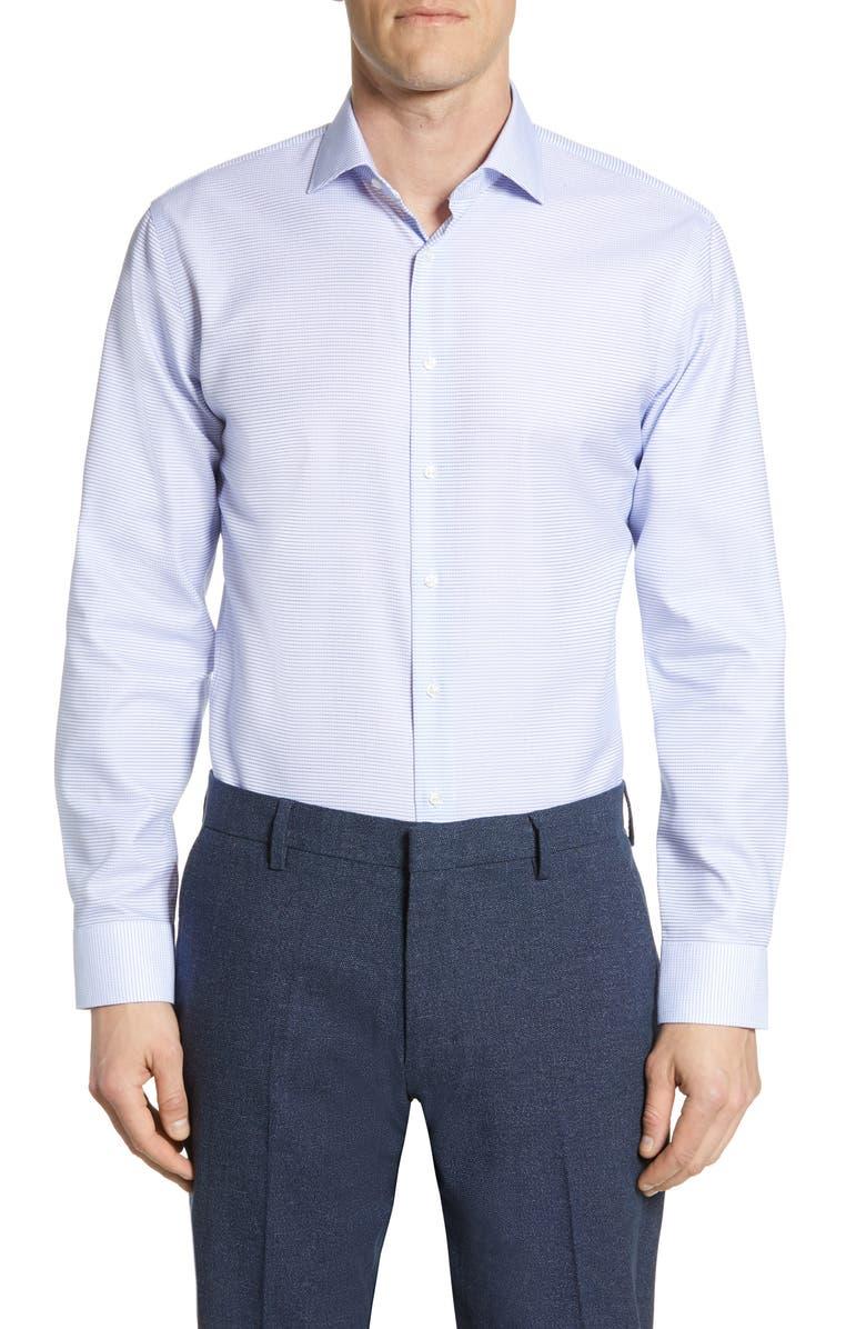 NORDSTROM MEN'S SHOP Trim Fit Stretch Non-Iron Check Dress Shirt, Main, color, BLUE AMPARO