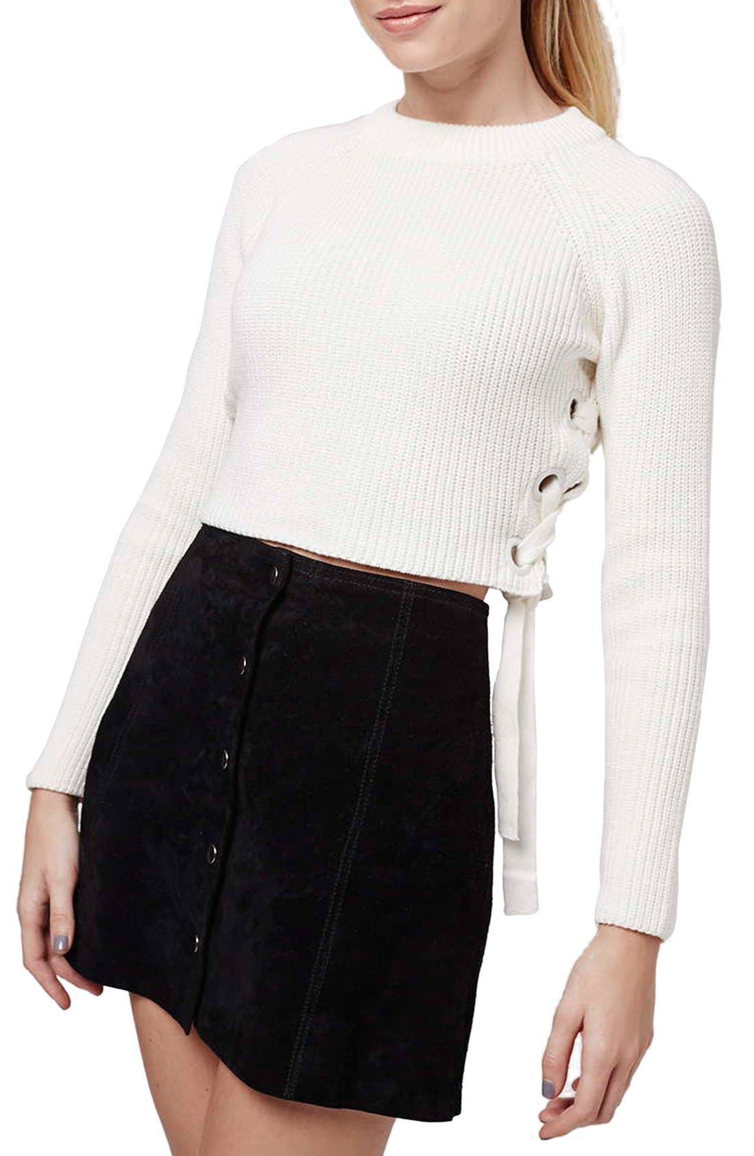 ,                             Side Tie Crop Sweater,                             Main thumbnail 7, color,                             900