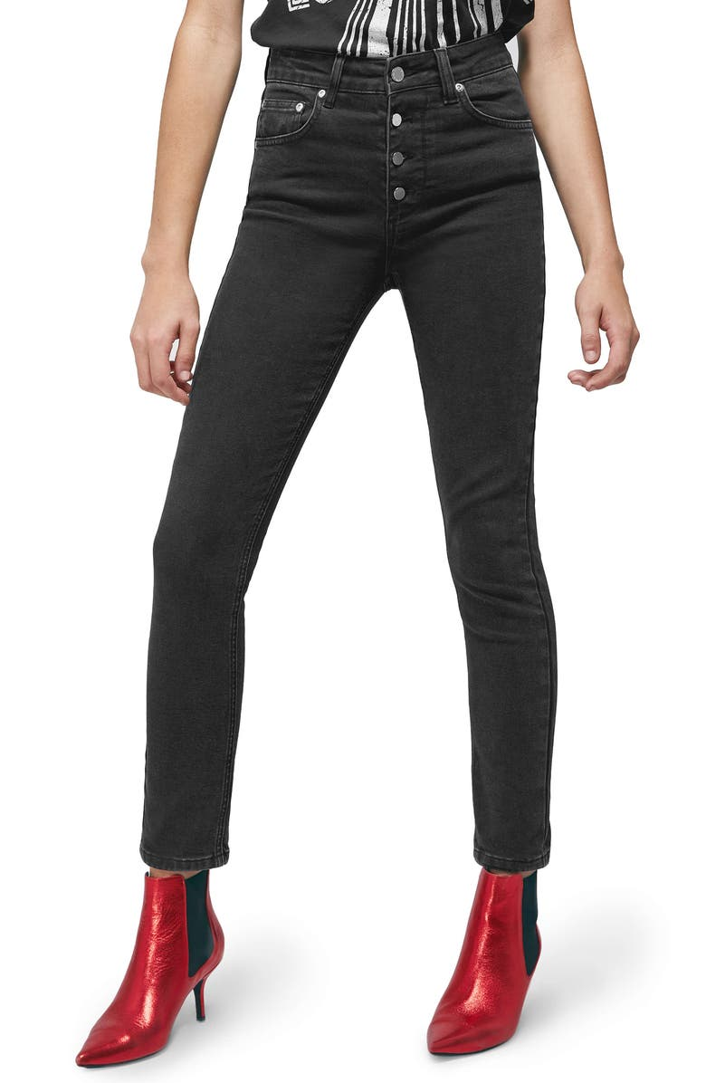 ANINE BING Frida Button Fly Skinny Jeans, Main, color, CHARCOAL