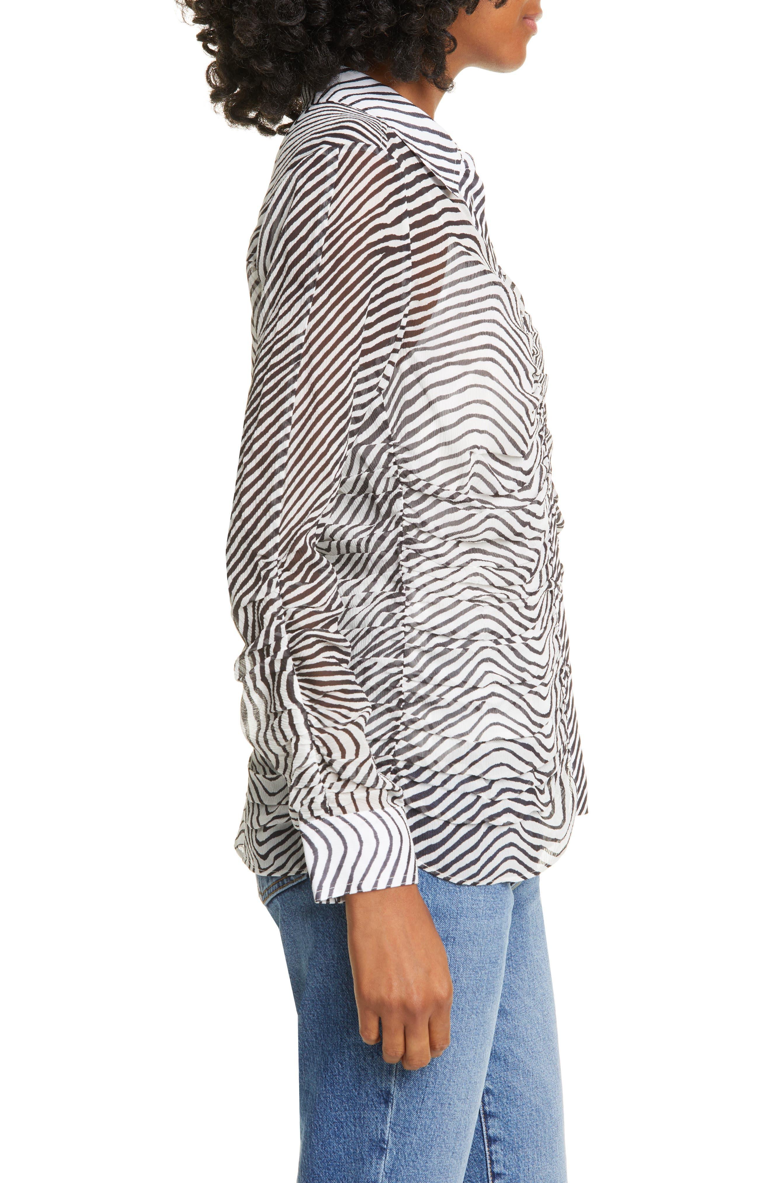 Tanya Taylor Tops Ryann Zebra Print Silk Chiffon Blouse