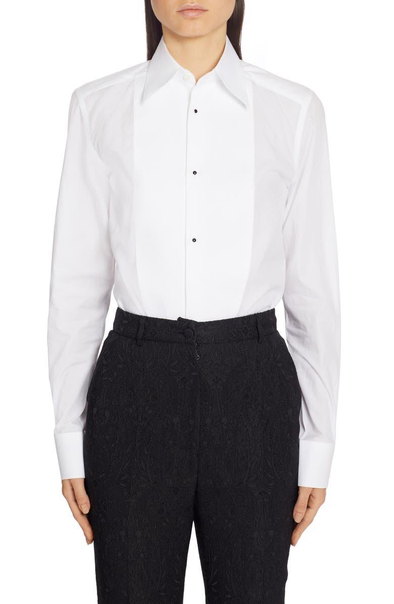 DOLCE&GABBANA Contrast Bib Menswear Shirt, Main, color, WHITE