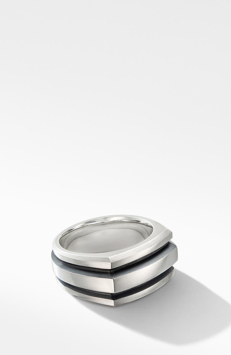 DAVID YURMAN Deco Cigar Band Ring, Main, color, SILVER