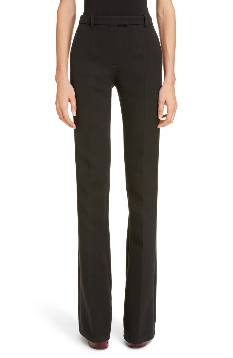 GIVENCHY Wool Blend Bootcut Trousers, Main, color, BLACK