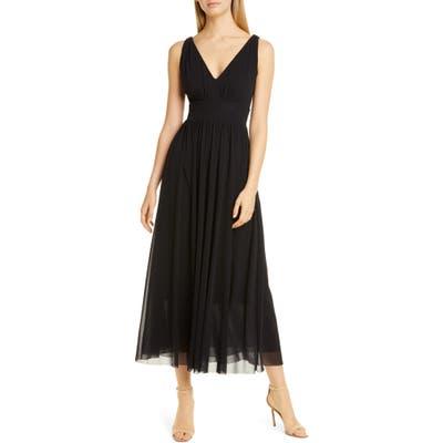 Fuzzi V-Neck Mesh Midi Dress, Black