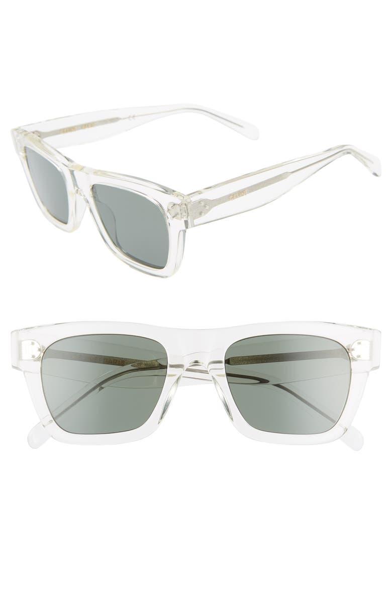 CELINE 51mm Square Sunglasses, Main, color, CRYSTAL/ GREEN