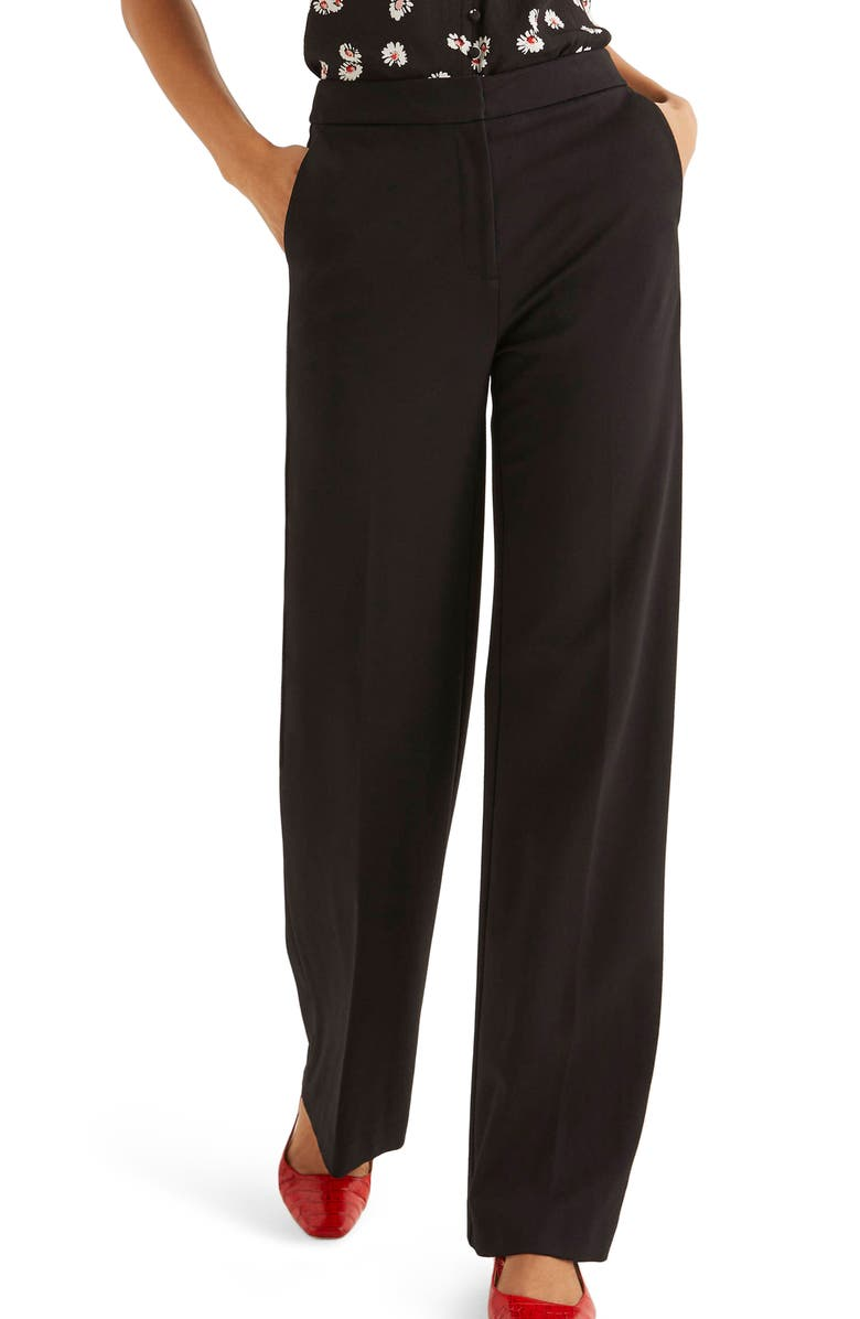 BODEN Hampshire Wide Leg Ponte Pants, Main, color, BLACK