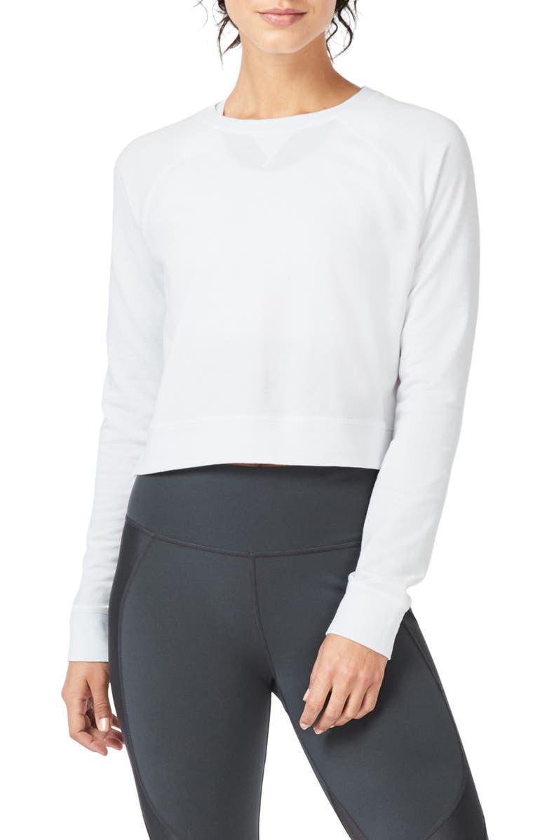 SWEATY BETTY Chelsea Crop Sweatshirt, Main, color, WHITE