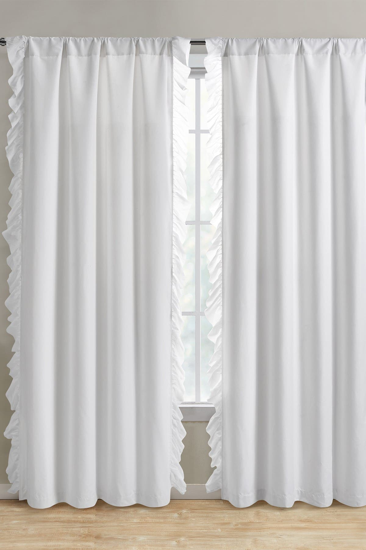 Image of VCNY HOME Amber Ruffle Side Blackout Curtain Panel Pair - White