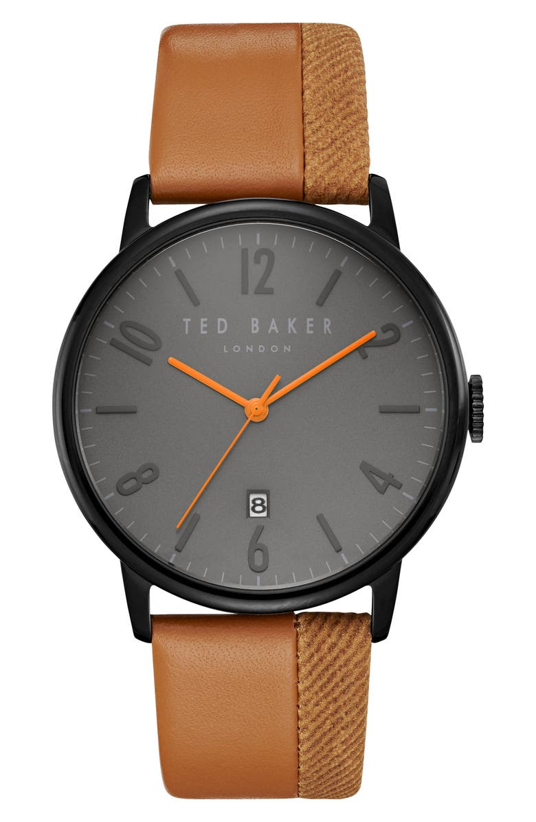 TED BAKER LONDON Thomas Leather Strap Watch, 42mm, Main, color, 201