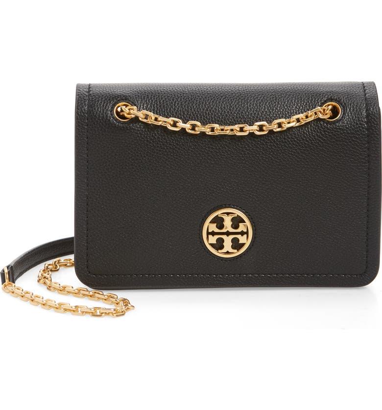 TORY BURCH Carson Convertible Leather Crossbody Bag, Main, color, BLACK