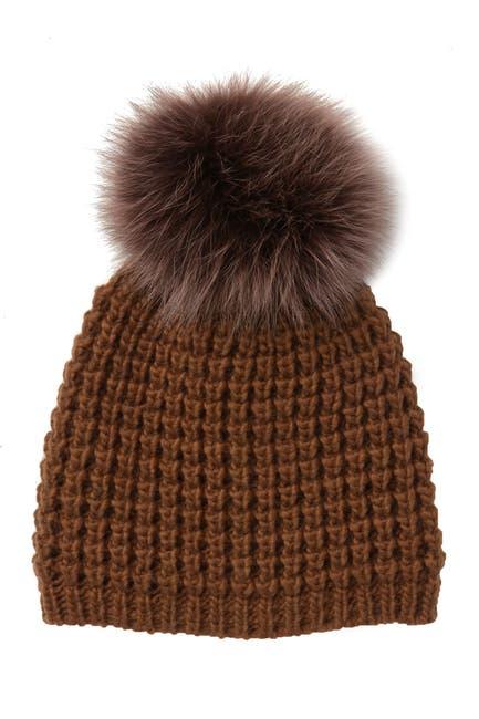Image of Kyi Kyi Genuine Fox Fur Pompom Wool Blend Beanie