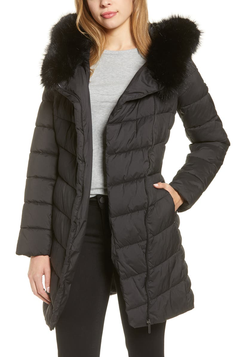 BERNARDO Oversized Faux Fur Hood Puffer Coat, Main, color, BLACK