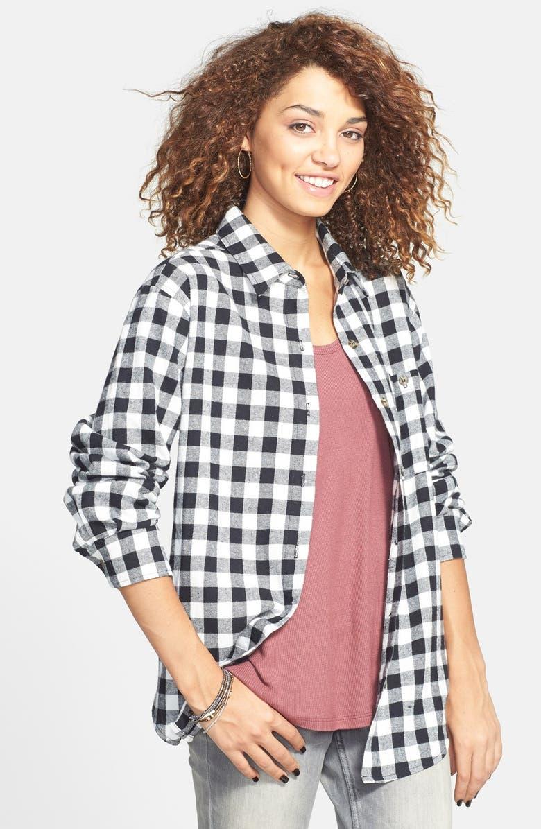 MIMI CHICA Plaid Cotton Flannel Shirt, Main, color, 001