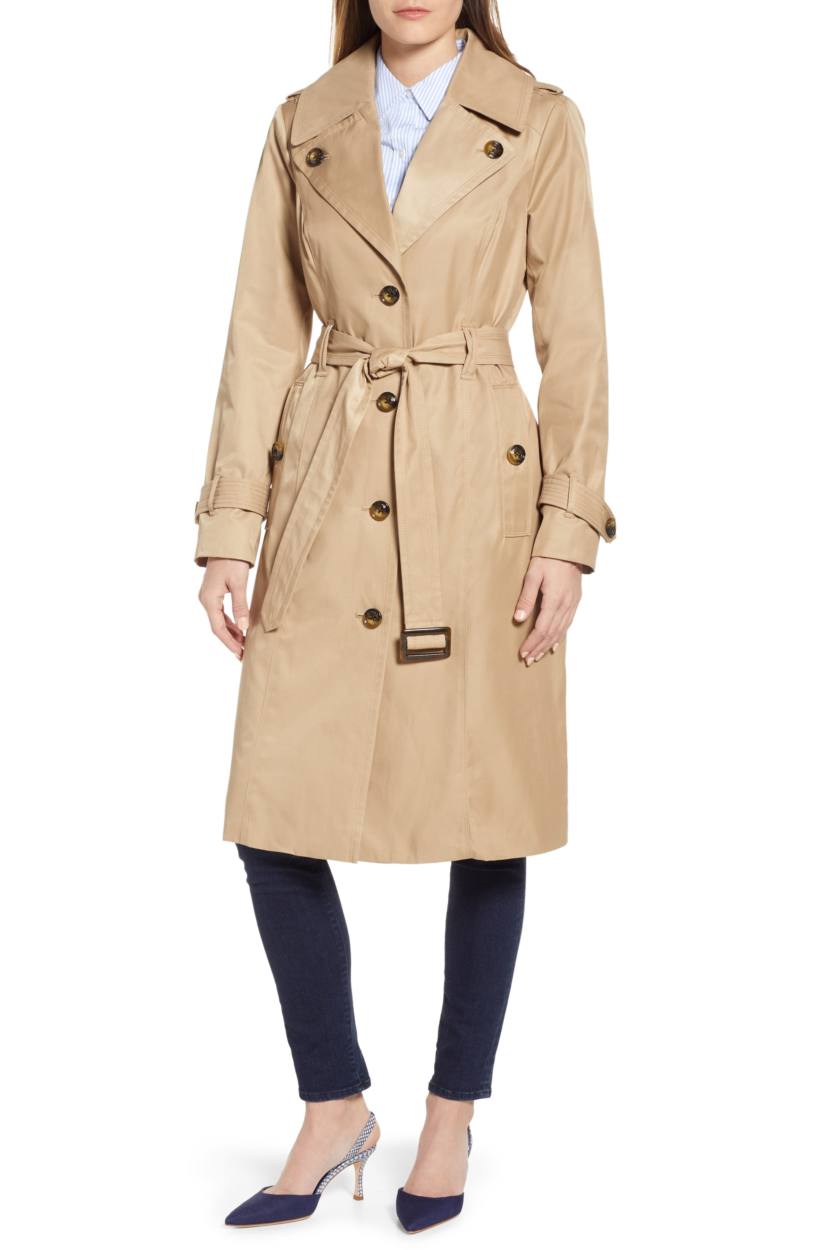 London Fog Water Repellent Trench Coat, Beige