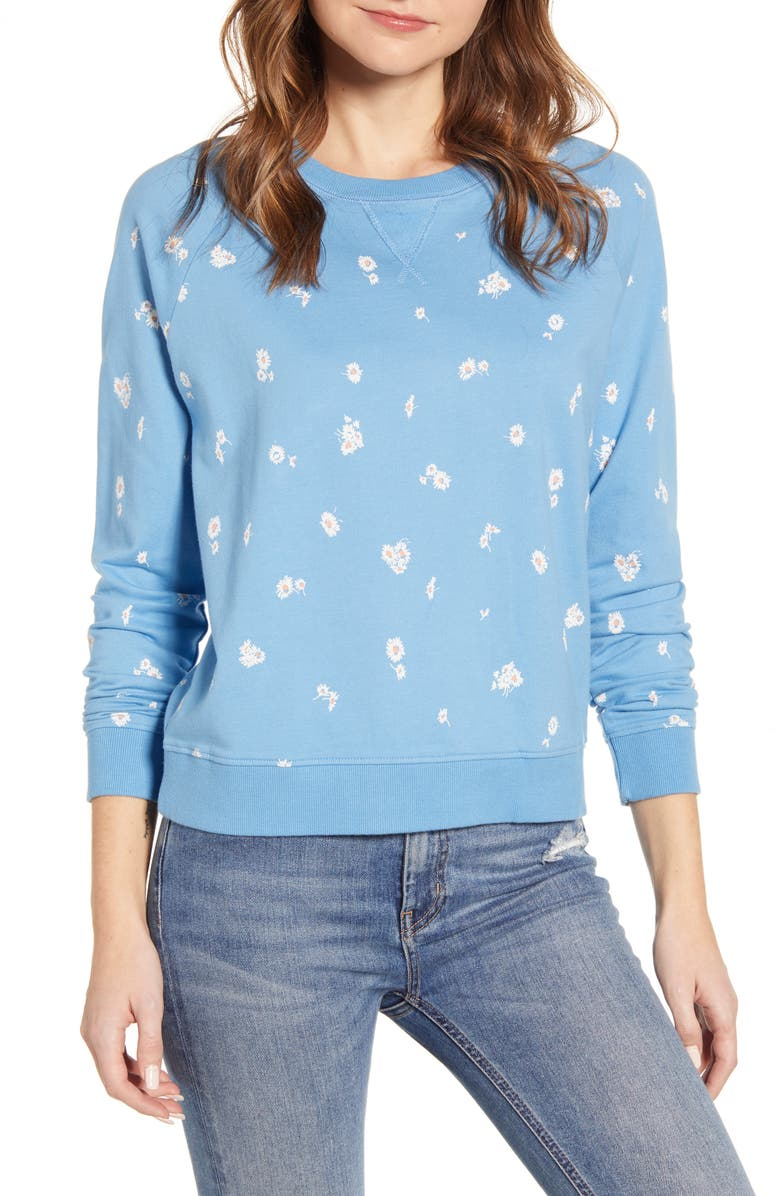 LUCKY BRAND Daisy Print Sweatshirt, Main, color, BLUE MULTI