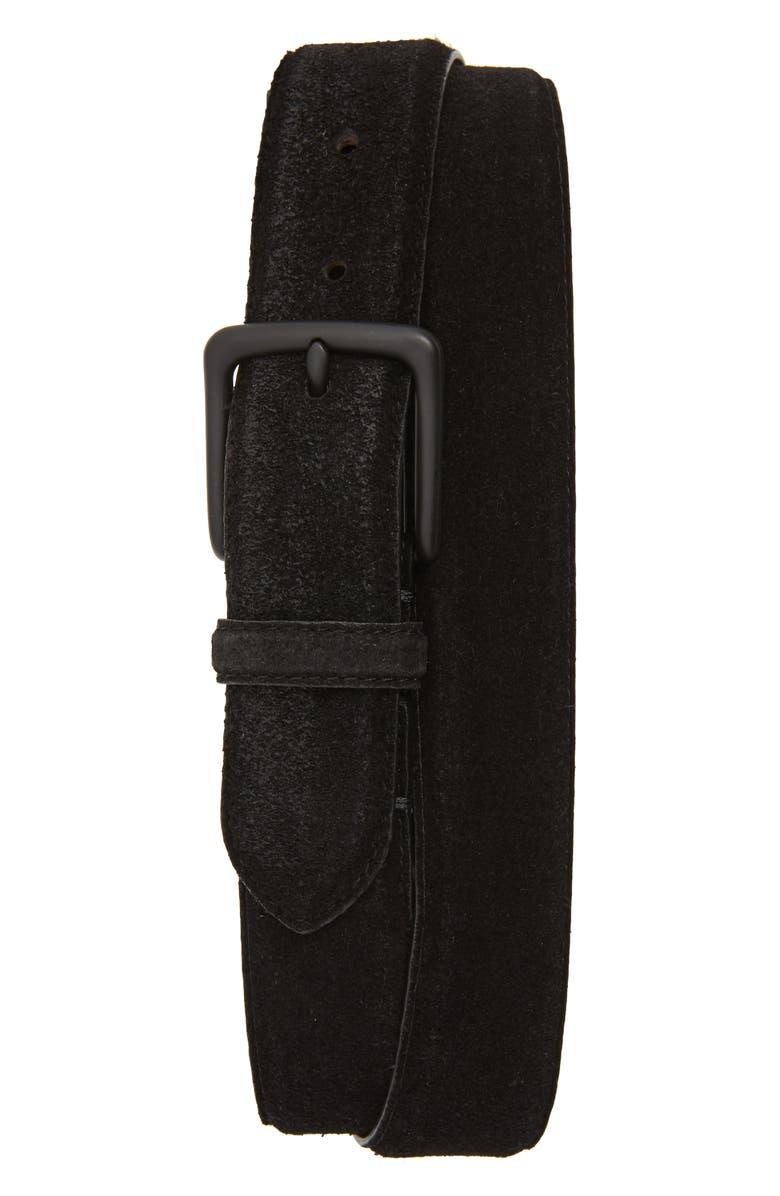 ALLSAINTS Distressed Suede Leather Belt, Main, color, BLACK/ MATTE BLACK