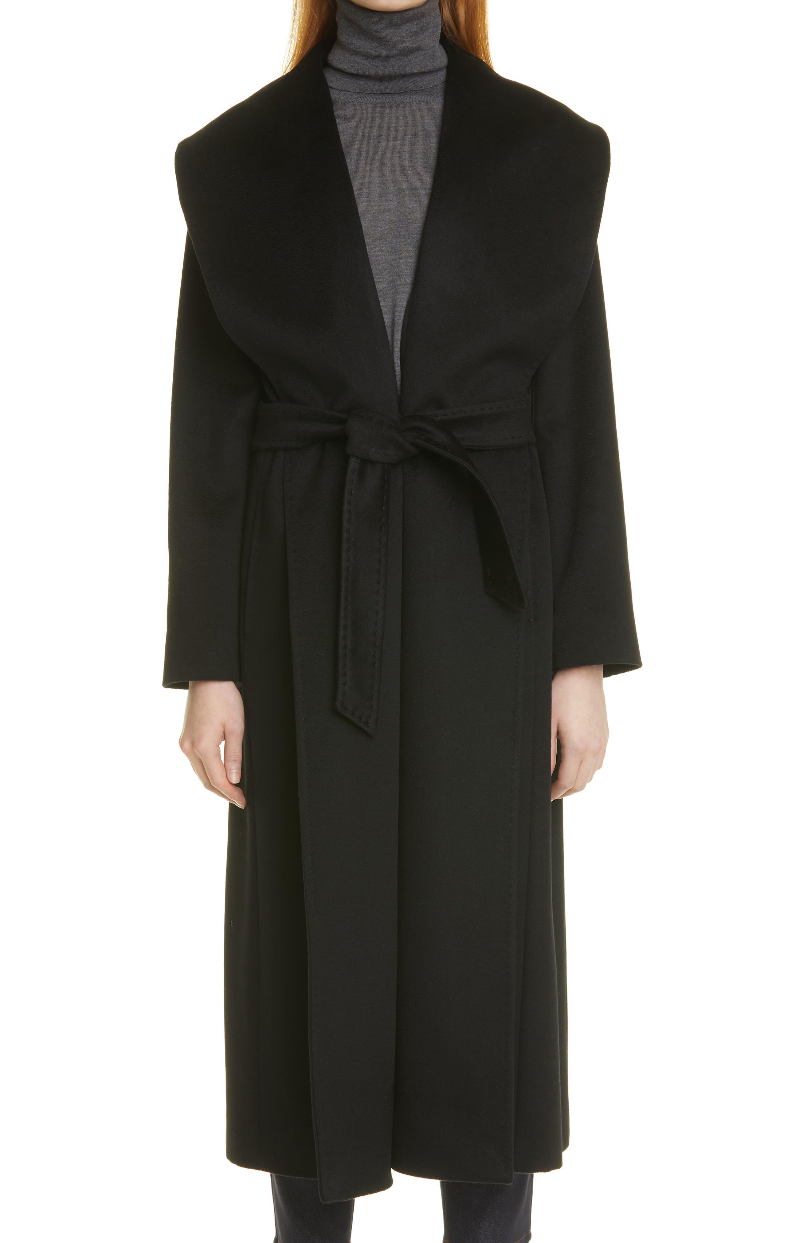 Lorian Long Melange Wool Wrap Coat
