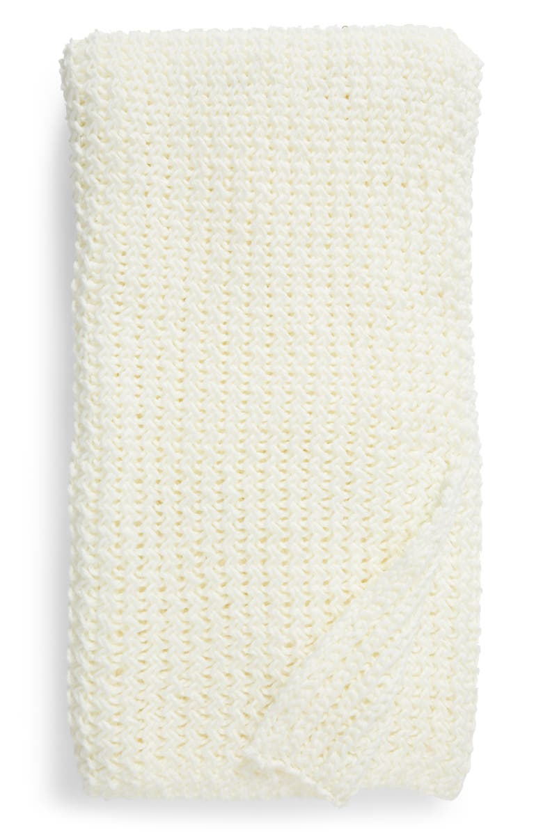NORDSTROM Ripple Knit Throw Blanket, Main, color, IVORY