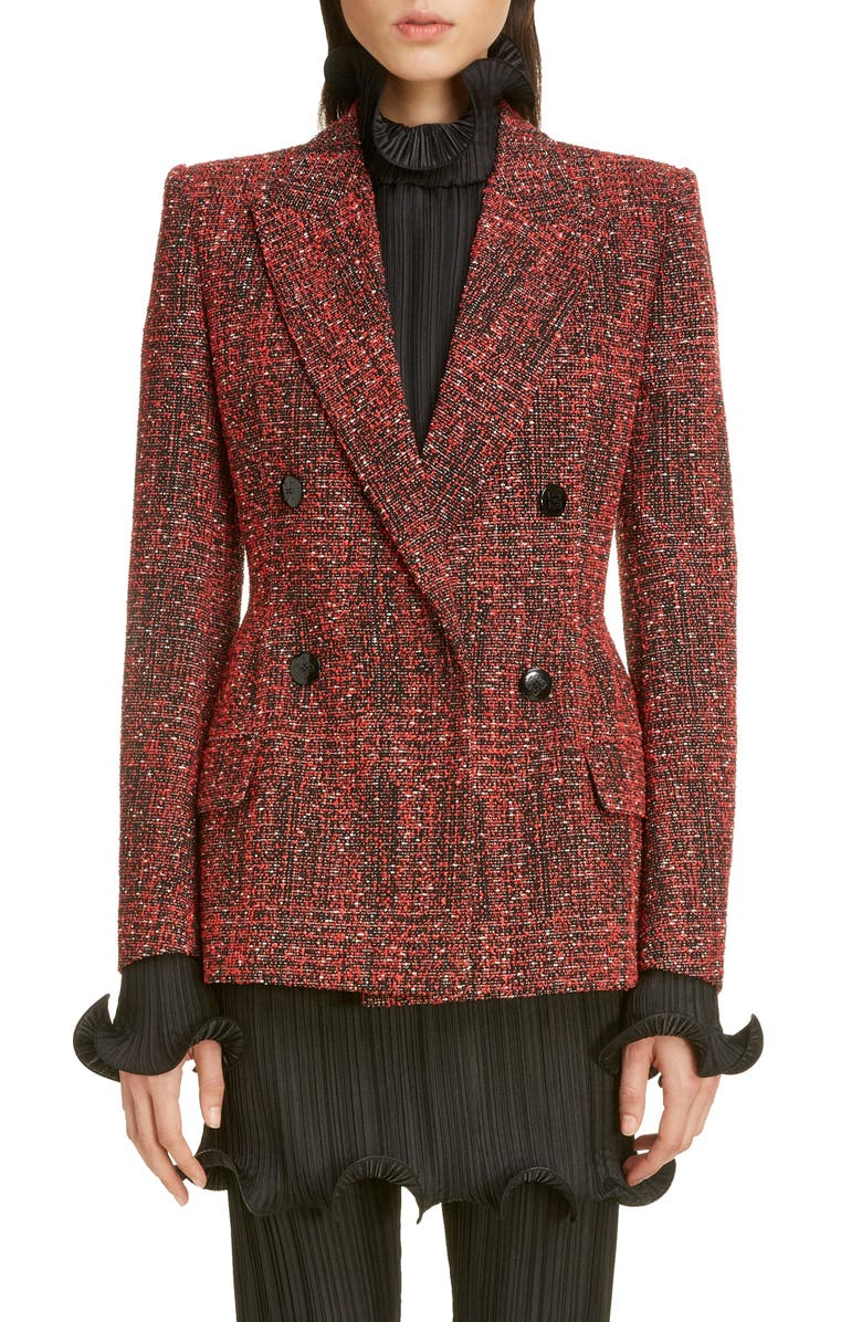 GIVENCHY Double Breasted Tweed Jacket, Main, color, RED/ BLACK