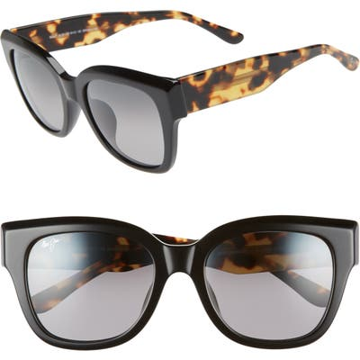 Maui Jim Siren Song 5m Polarizedplus2 Cat Eye Sunglasses - Black Gloss W/ Tokyo Tortoise