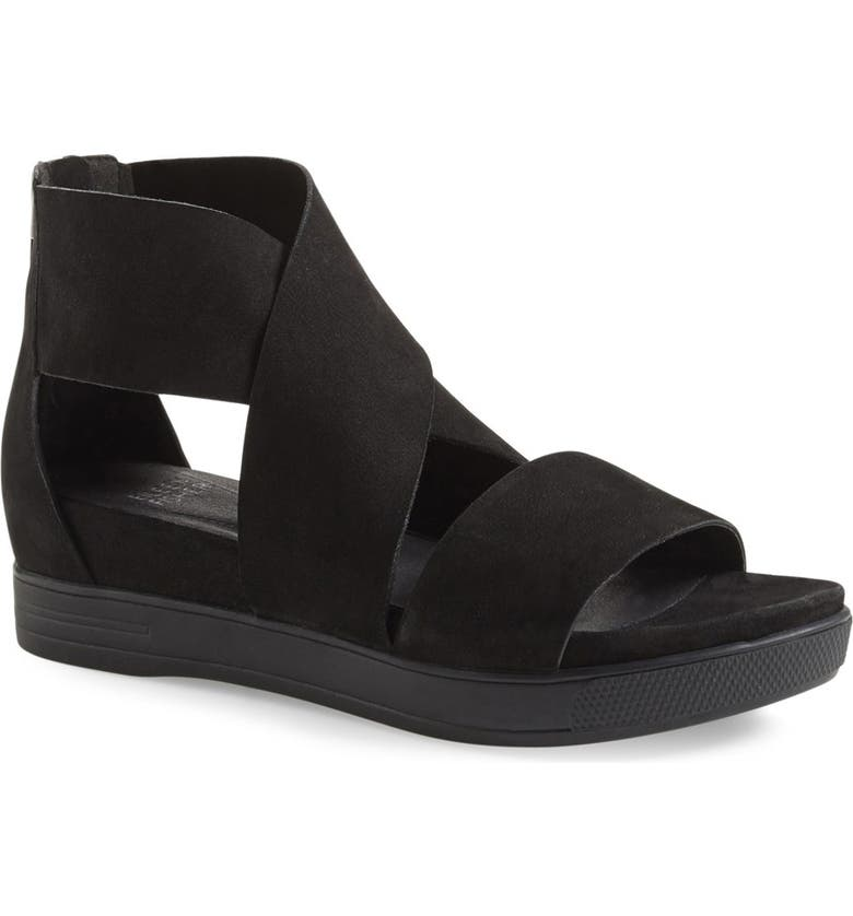 EILEEN FISHER Sport Platform Sandal, Main, color, BLACK LEATHER