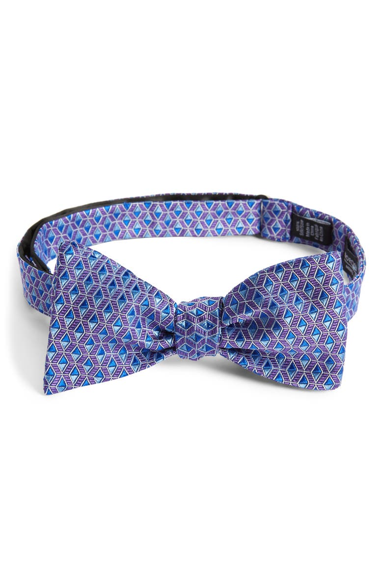 NORDSTROM MEN'S SHOP Farson Geometric Silk Bow Tie, Main, color, PURPLE