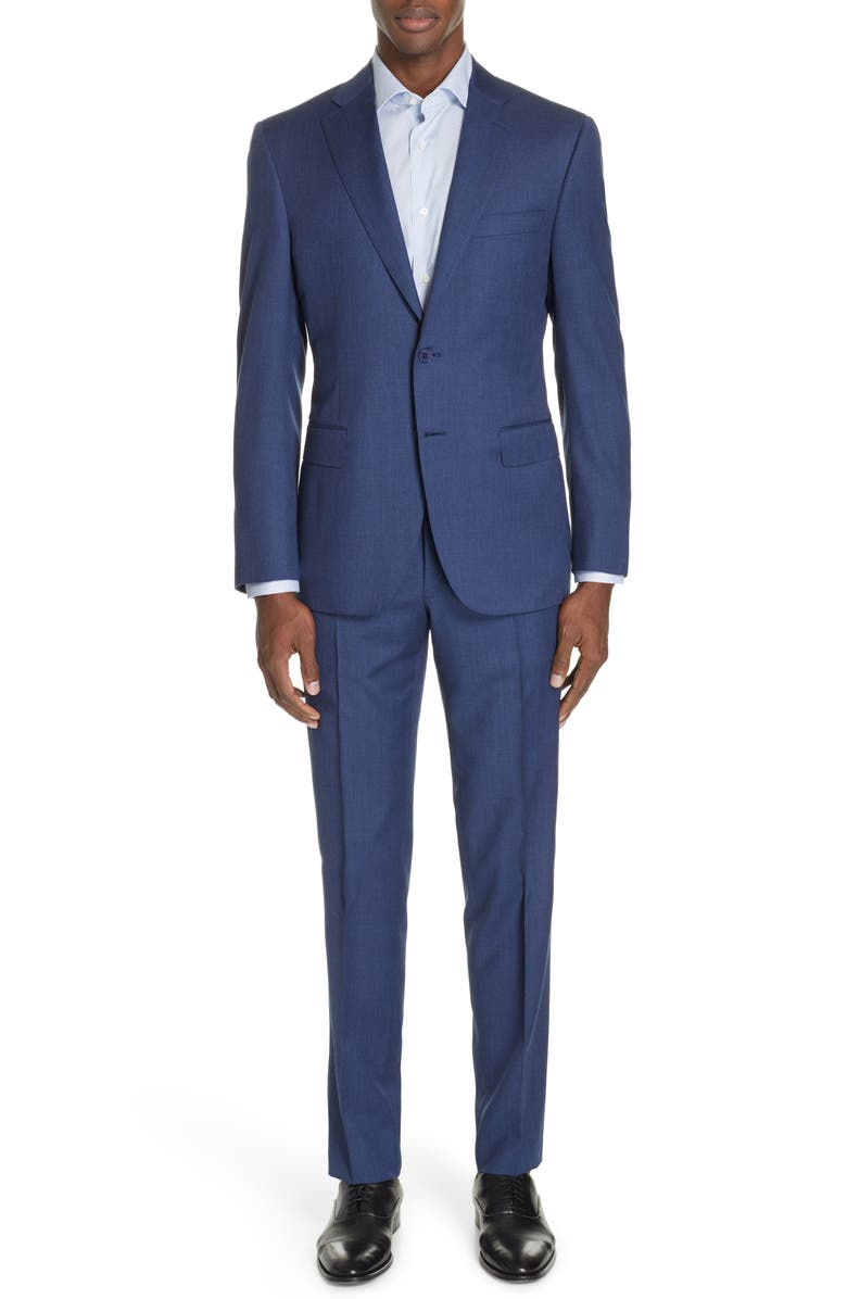 CANALI Sienna Classic Fit Solid Wool Suit, Main, color, 400