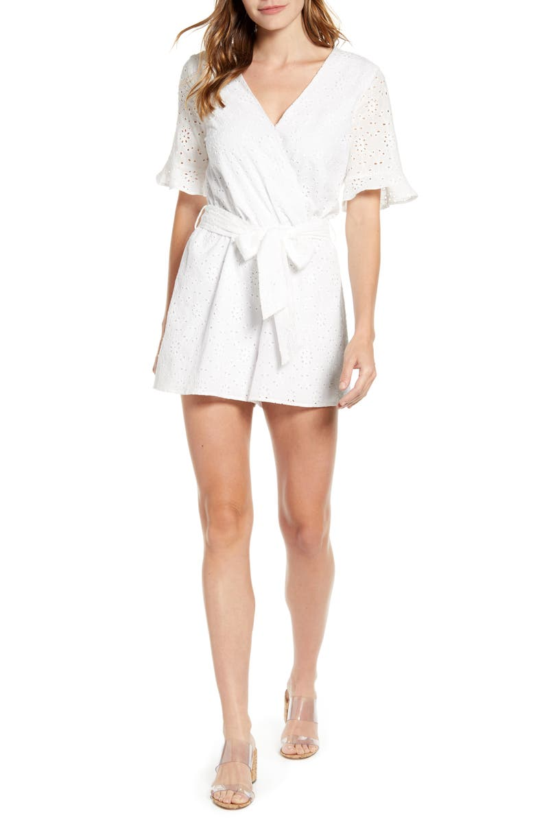 GIBSON x Hot Summer Nights Natalie Wrap Eyelet Romper, Main, color, WHITE