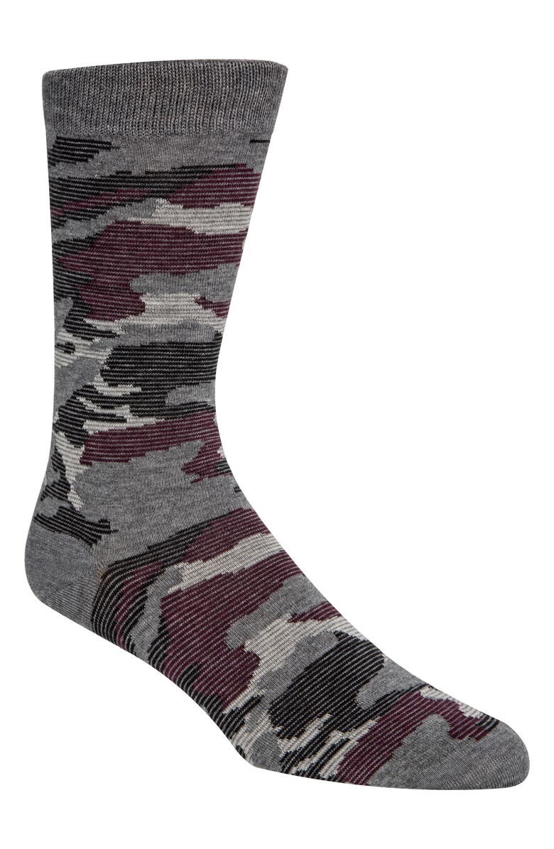 COLE HAAN Modern Camo Socks, Main, color, MID GREY