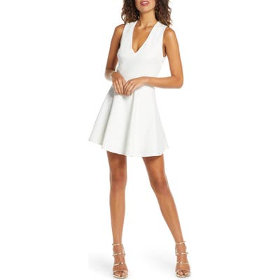 Lulus Going Steady Backless Skater Dress, White