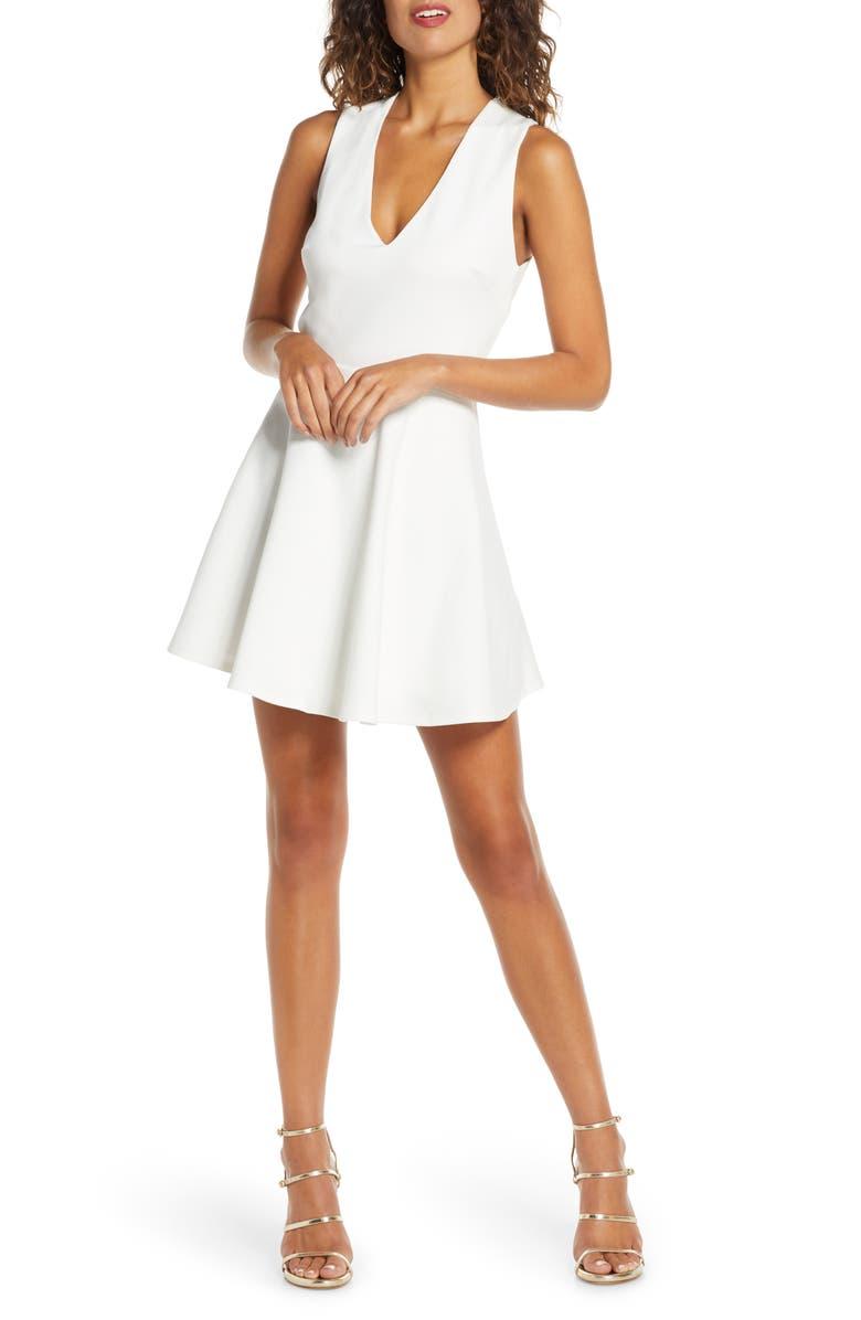 LULUS Going Steady Backless Skater Dress, Main, color, WHITE