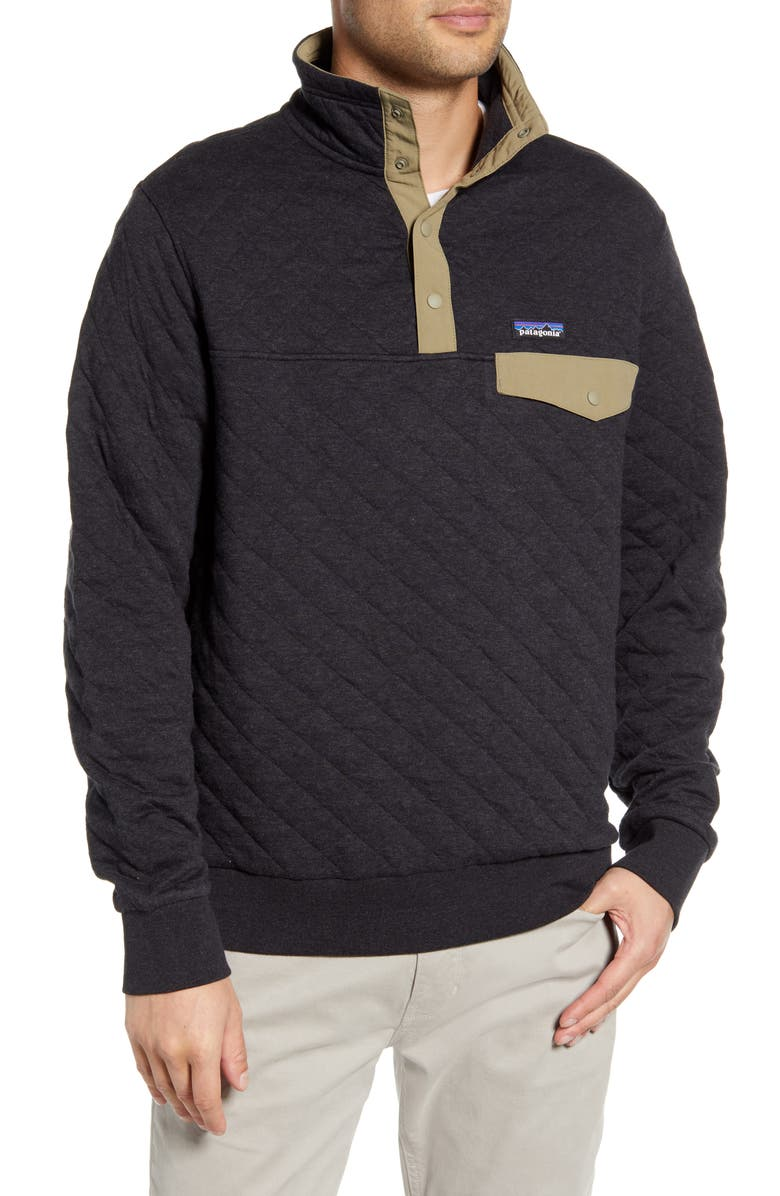 PATAGONIA Snap-T<sup>®</sup> Quilted Fleece Pullover, Main, color, BLACK