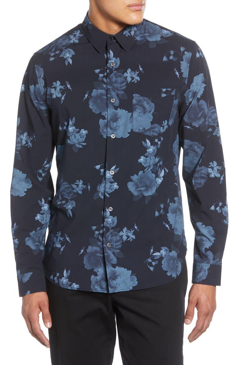 VINCE Floral Print Classic Fit Button-Up Shirt, Main, color, 403