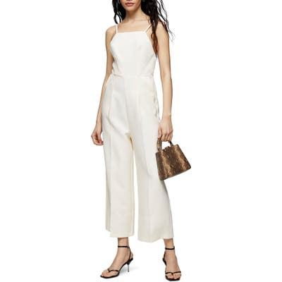 Topshop Strappy Back Wide Leg Jumpsuit, US (fits like 10-12) - Ivory