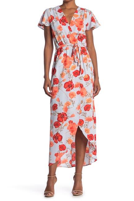 Image of Fraiche By J Floral High/Low Hem Wrap Dress