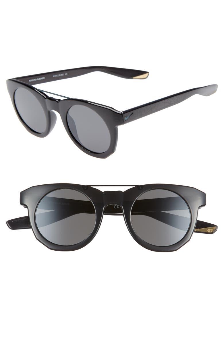 NIKE KD Flicker 46mm Round Sunglasses, Main, color, OIL GREY/ DARK GREY
