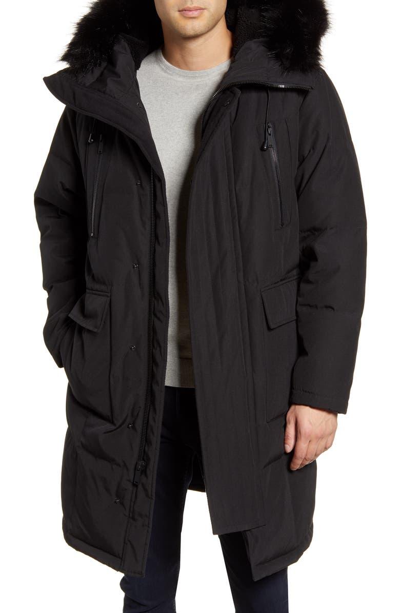 KARL LAGERFELD PARIS Faux Fur Trim Down & Feather Quilted Parka, Main, color, BLACK