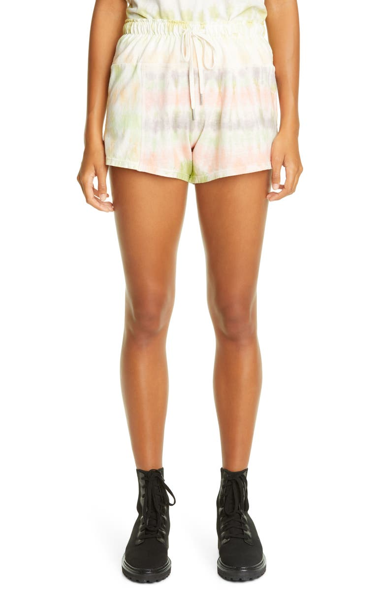 JOHN ELLIOTT Reconstructed Tie Dye Shorts, Main, color, PEACH MULTI