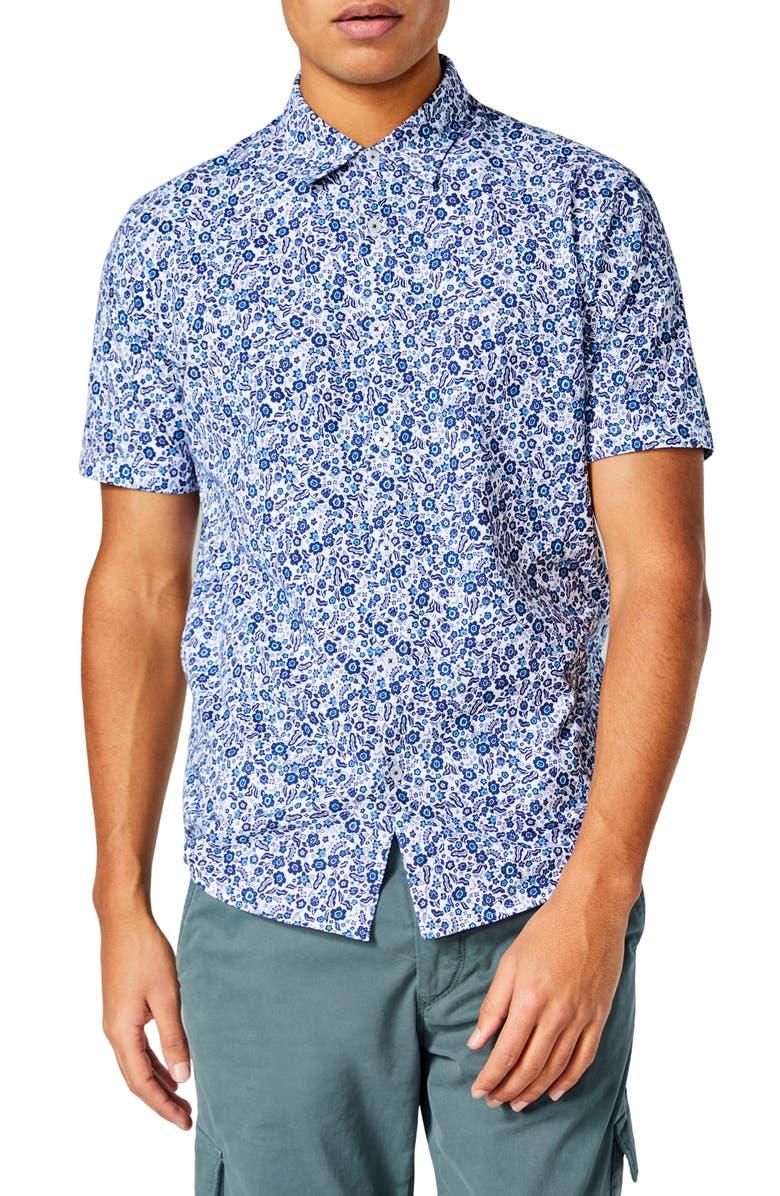 GOOD MAN BRAND Flex Pro Slim Fit Print Short Sleeve Button-Up Shirt, Main, color, WHITE LEAFY JUNGLE