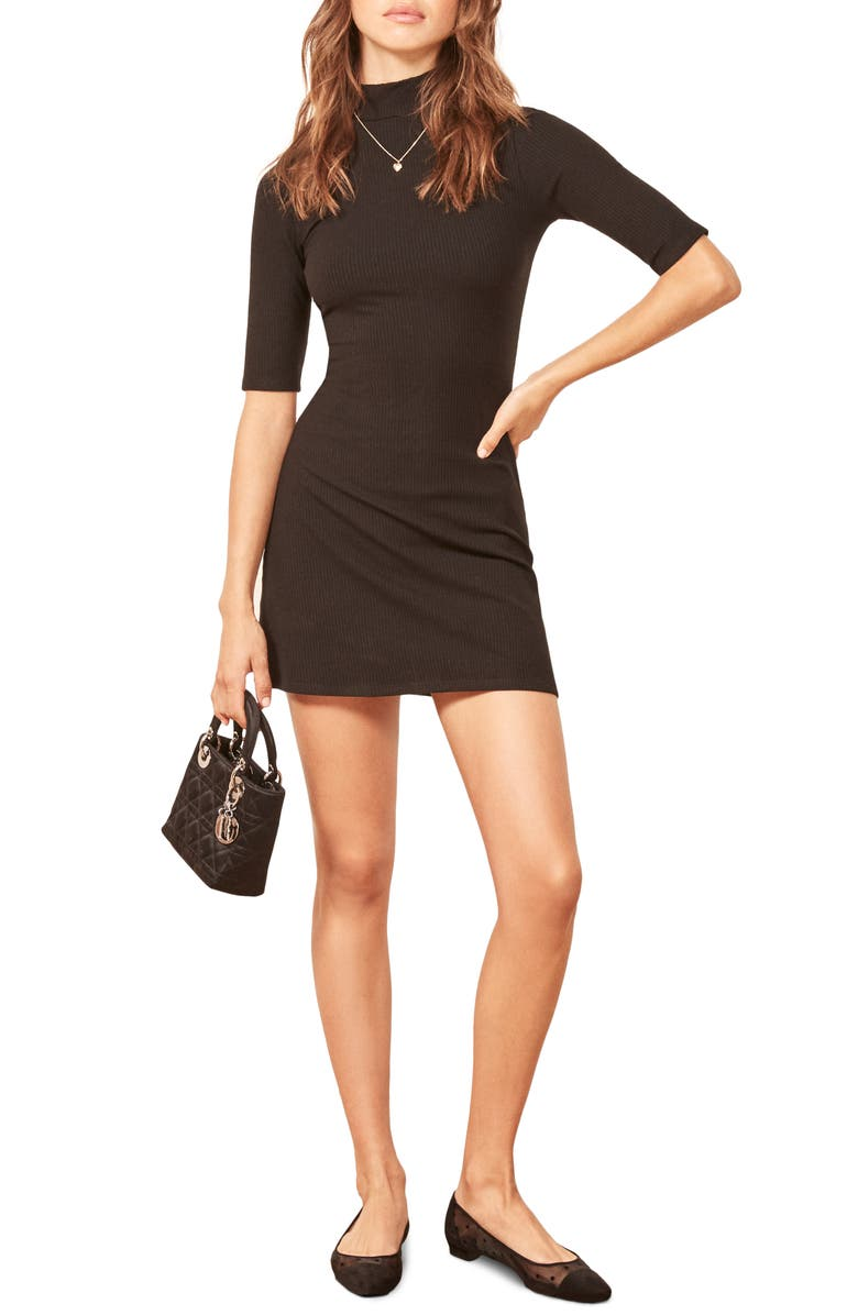 REFORMATION Mod Sweater Dress, Main, color, BLACK