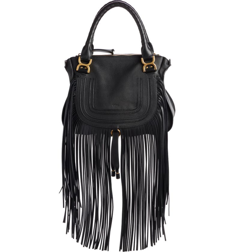 CHLOÉ Medium Marcie Fringe Leather Satchel, Main, color, BLACK
