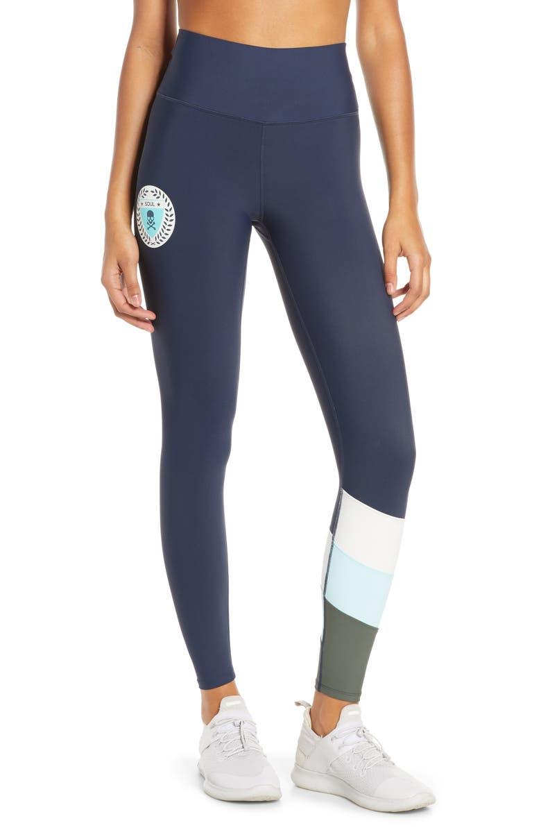 SOUL BY SOULCYCLE High Waist Stripe Leggings, Main, color, NAVY BLAZER
