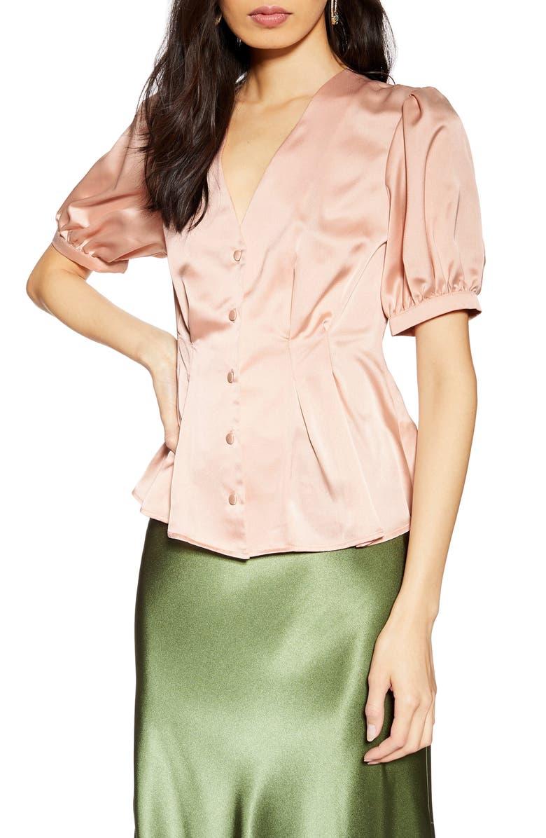 TOPSHOP Pleat Button Blouse, Main, color, BLUSH MULTI