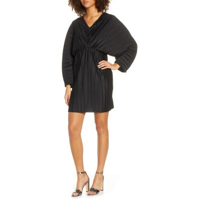 French Connection Long Sleeve Crinkle Pleat Cocktail Dress, Black